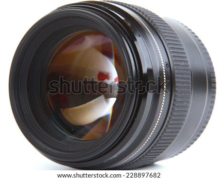 professional photo lens closeup, isolated on white background