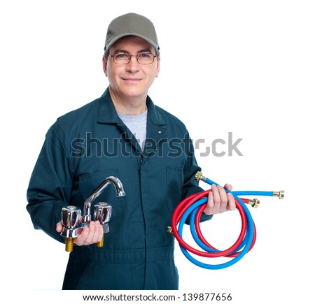 Professional plumber with faucet. Isolated on white background.