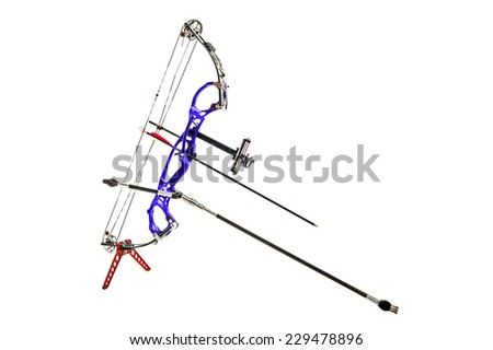 Professional purple bow on a stand in close up and isolated in white - stock photo