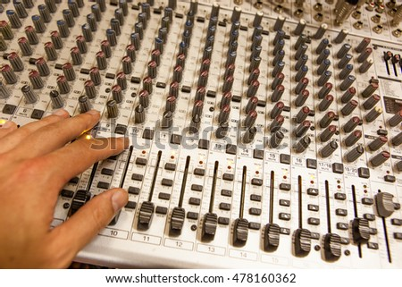 Professional radio / TV broadcasting audio mixing console with faders and adjusting knobs