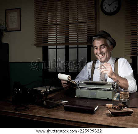 Professional reporter at work writing down notes, 1950s style office. - stock photo