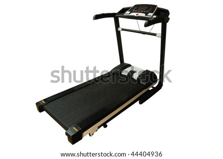 Professional treadmill isolated on white - stock photo