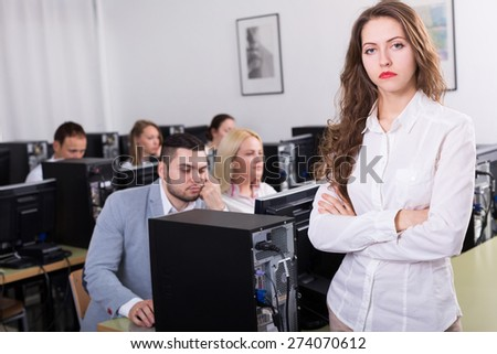 Professional unhappy employees of sales department with serious faces