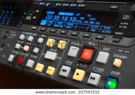 Professional video recorder. Control panel. Digital Betacam format. Shallow depth of field.