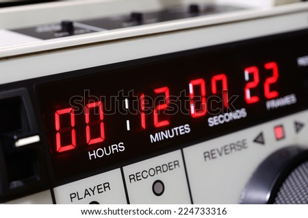 Professional video recorder. Time-code panel - stock photo