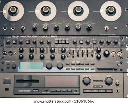 professional vintage audio equipment - stock photo