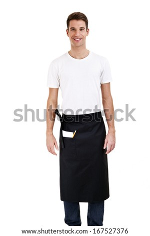 Professional waiter. Isolated on white - stock photo