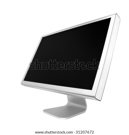 Professional widescreen computer monitor. Isolated over white background - stock photo