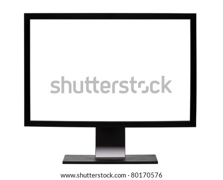 Professional  widescreen monitor with blank white screen. Isolated on white background. - stock photo