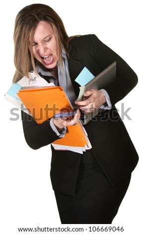 Professional woman fumbling with papers, computer and phone