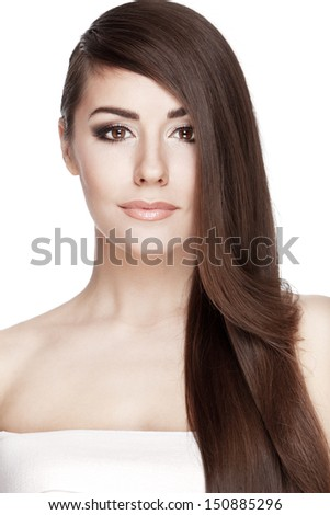 Professionaly  retouched studio HD capture of a beautiful young brunette woman with long hair on white background - stock photo
