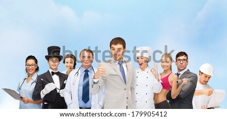 professions and people concept - group of people including businessmen, doctor, nurse, magician, helpline operator, cook, personal trainer - stock photo