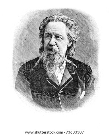 "Professor J. Fedders. Engraving by Shyubler. Published in magazine ""Niva"", publishing house A.F. Marx, St. Petersburg, Russia, 1893"