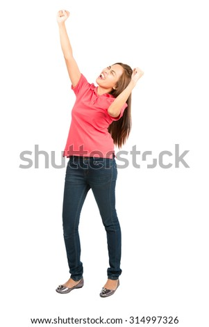 Profile lovely Asian female dressed casually with eyes closed and pumping fist in the air, raised arm, screaming and shouting in celebration of success or achieving goal