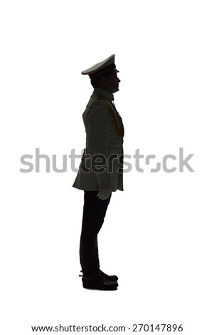 profile Man in white guard russian officer coat