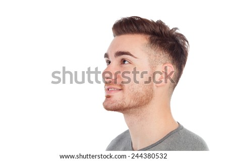 Profile of a casual men isolated on a white background - stock photo