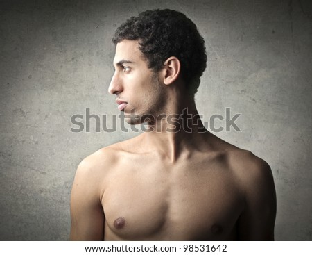 Profile of a handsome african young man - stock photo