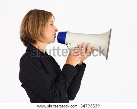 Profile of a mature businesswoman shouting through a megaphone