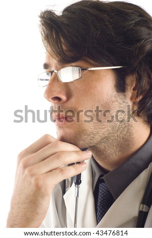 Profile of a thoughtful doctor with stethoscope isolated over white