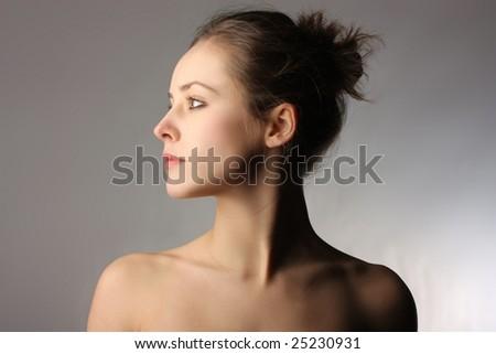 profile of a woman - stock photo