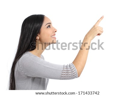 Profile of a woman pointing an advertisement isolated on a white background              - stock photo