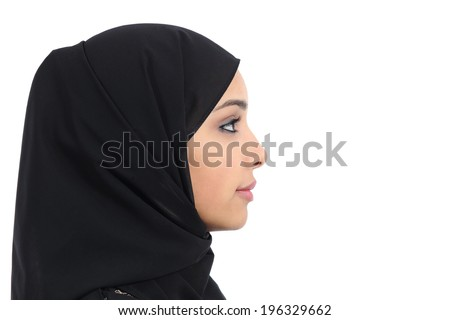 Profile of an arab saudi woman face with perfect skin isolated on a white background - stock photo