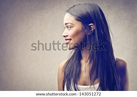 profile of beautiful black woman - stock photo
