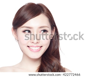 profile of beauty woman with health skin, teeth and hair isolated on white background, asian beauty - stock photo