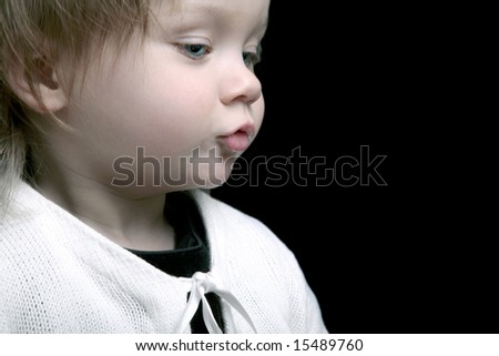 Profile of cute baby girl, isolated - stock photo