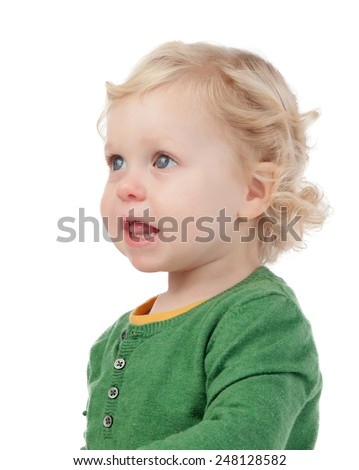 Profile of cute baby isolated on a white background - stock photo