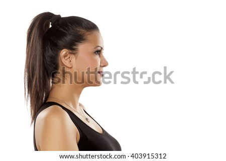 profile of dark skinned beautiful young woman - stock photo