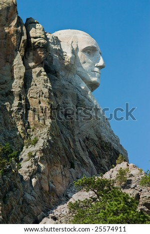 profile of george washington at mt rushmore