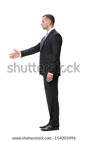 Profile of handshaking businessman, isolated on white. Concept of leadership and success - stock photo