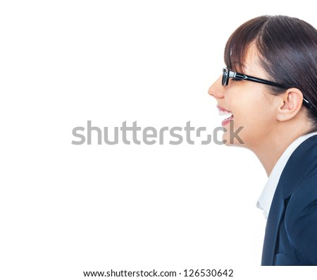 Profile of happy smiling young businesswoman with spectacles talking something, isolated on white - stock photo
