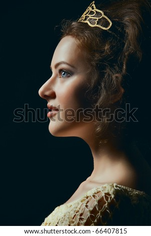 Profile of majestic young woman wearing tiara on black background - stock photo