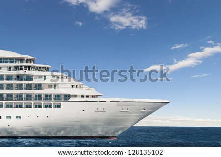 Profile of the figurehead of a cruise ship - stock photo