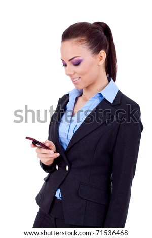 Profile of young business woman texting on phone, isolated on white background