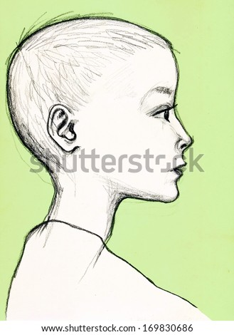Profile portrait of a young boy. Pencil drawing - stock photo