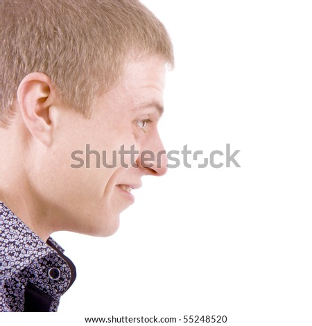 Profile portrait of astonished men on a white background - stock photo