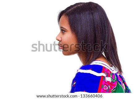 profile portrait of beautiful African American woman, she is wearing traditional clothe  - isolated over white background - stock photo