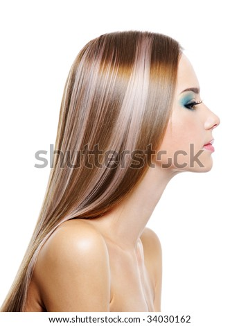 Profile portrait of female with long health beautiful hair - isolated on white - stock photo