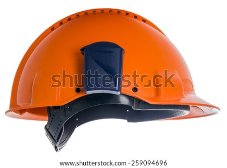 Profile protective helmet with a box for earplugs isolated