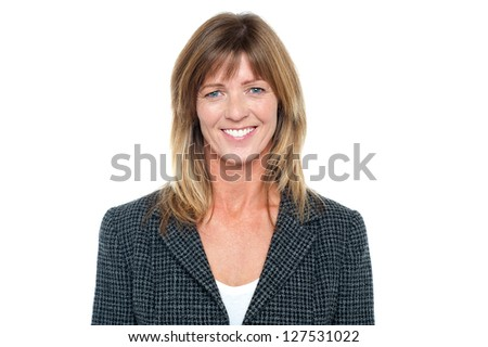 Profile shot of a cheerful middle aged corporate woman on white background. - stock photo