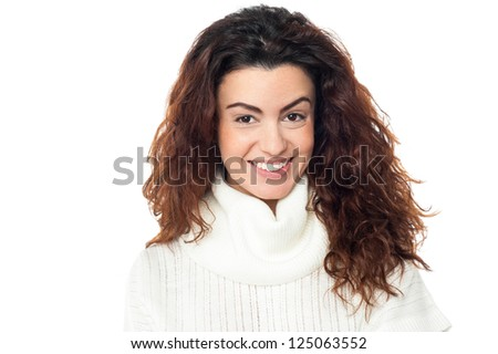 Profile shot of a happy lady with curly hair on white background. - stock photo