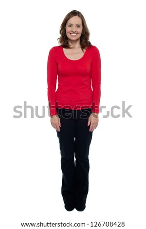 Profile shot of a middle aged cheerful woman dressed in casuals.