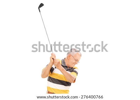 Profile shot of a senior playing golf isolated on white background - stock photo