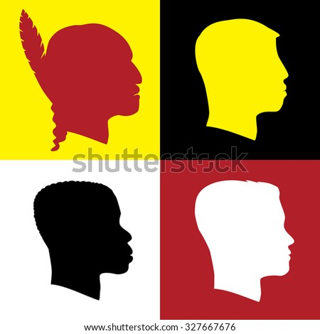 Profile Silhouette Different Races - stock photo