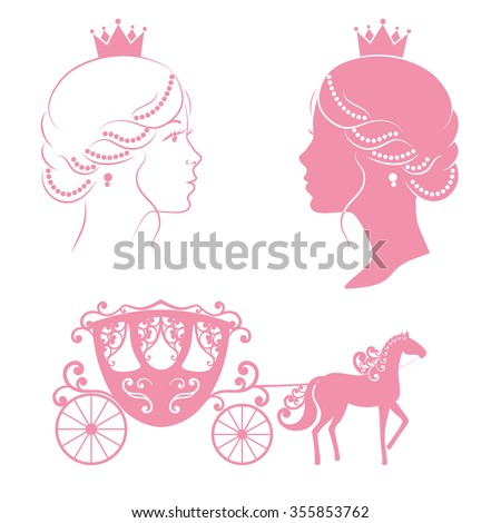 Profile silhouette of a princess and carriage with horse in pink color isolated on white background. Vintage royal set collection. Raster version. - stock photo