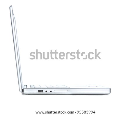 Profile view of a laptop isolated on white - stock photo