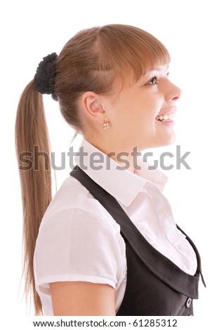 Profile woman, isolated on white background. - stock photo